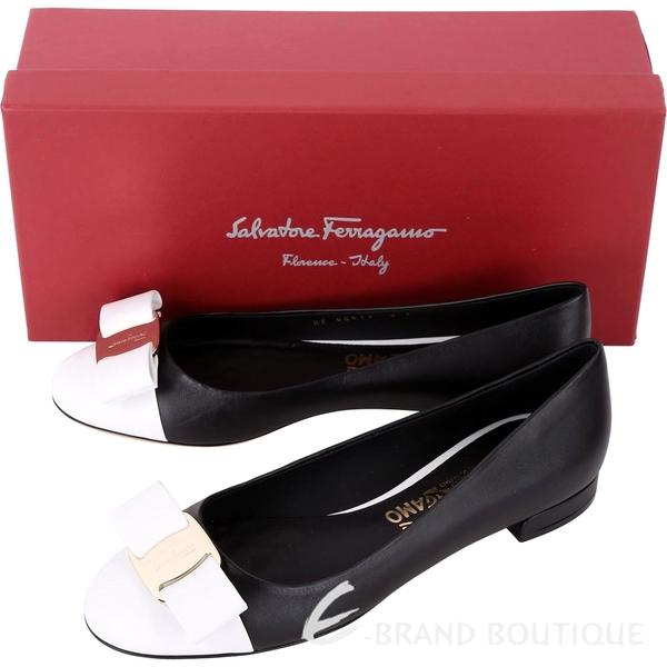 Salvatore Ferragamo VARINA 羅緞蝴蝶結撞色牛皮跟鞋 1830241-01