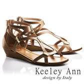 ★2018春夏★Keeley Ann西部牛仔~羅馬纏繞金屬飾全真皮楔形涼鞋(咖啡色)