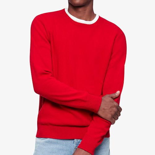 Calvin Klein 男羊毛毛衣(辣椒紅)