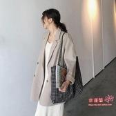 西裝外套 2020秋季新款港味復古寬鬆休閒chic風西裝中長款人字紋西服外套女 S-XL