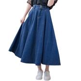 牛仔裙--修身顯瘦復古高腰雙排扣八片式大擺學院風牛仔長裙(藍S-7L)-Q68眼圈熊中大尺碼◎