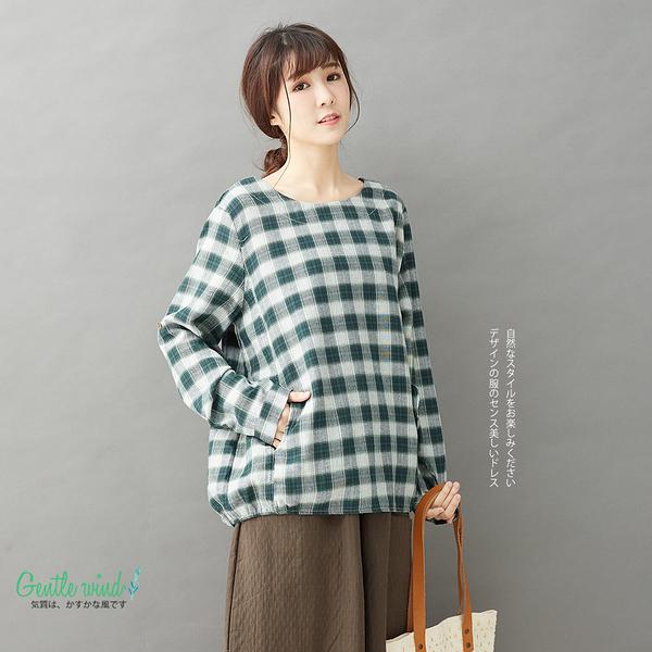 【Gentle wind】雙口袋格紋寬鬆上衣-F 3588 FREE綠色