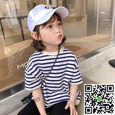 女童短袖T恤夏裝女寶寶韓版兒童夏季條紋上衣【風之海】