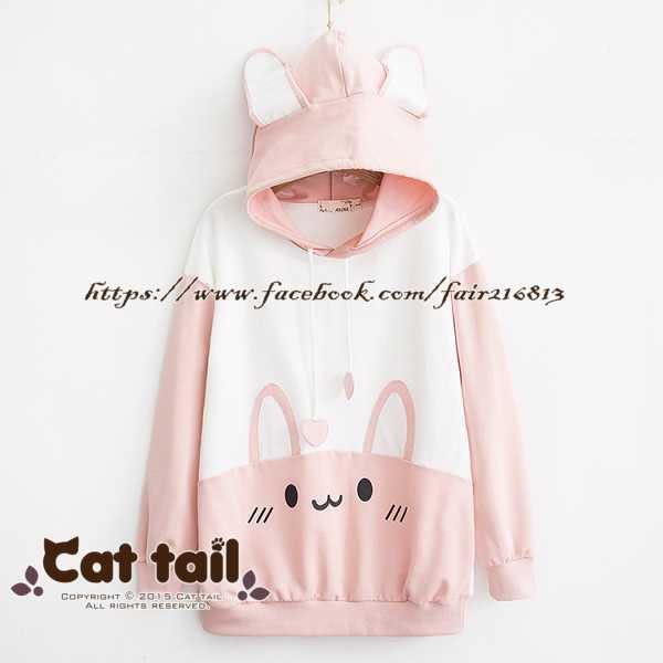 《貓尾巴》TS-01316 日系可愛兔子印花寬鬆長袖上衣(森林系 日系 棉麻 文青 清新)