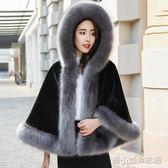 仿皮草外套女短款新款冬時尚顯瘦狐貍毛皮草斗篷披肩大衣加厚     韓小姐