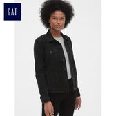 Gap女裝 休閒長袖尖領牛仔夾克 491497-水洗黑