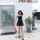 夏季黑色收腰顯瘦修身a字短款小黑裙