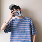 韓版bf男生半袖T恤條紋短袖夏寬鬆男裝潮流學生衣服 免運
