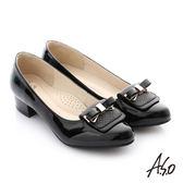 A.S.O 舒適通勤 真皮蝴蝶結奈米防滑低跟鞋 黑