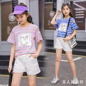 大尺碼女童套裝 2019夏季短袖褲裝休閒兩件套印花露肩上衣潮 DR27561【男人與流行】
