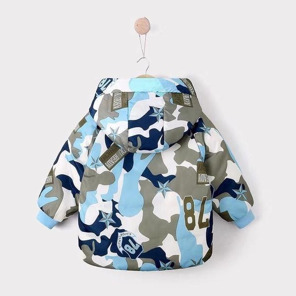 男Baby男童外套帥氣大迷彩羽絨外套連帽外套藍色現貨90%絨10%羽歐美品質