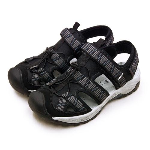 LIKA夢 LOTTO 專業排水護趾戶外運動涼鞋 森林之王系列 黑灰 1650 男