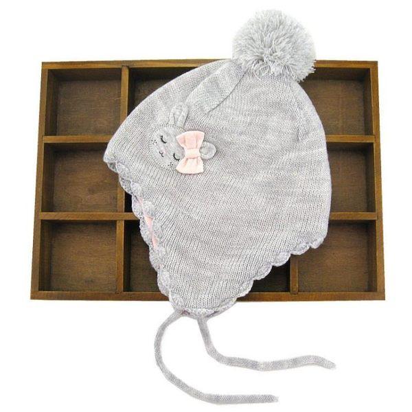 女童護耳毛  兒童帽子女童帽護耳帽寶寶印花抓絨毛線套頭毛絨帽    瑪麗蘇