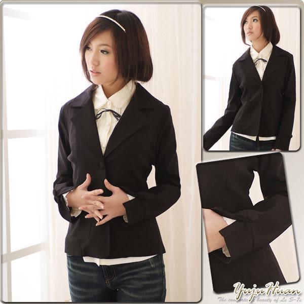 西裝外套--穿出細緻知性的專業感-韓版基本款包扣收腰西裝外套(S-2L)-K05眼圈熊中大尺碼