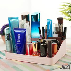 【佶之屋】歐風簡約多分格化妝品/口紅桌面收納盒/S-二入組黃+灰
