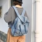韓版原宿高中學生日版古著感少女簡約大學生牛仔後背包 黛尼時尚精品
