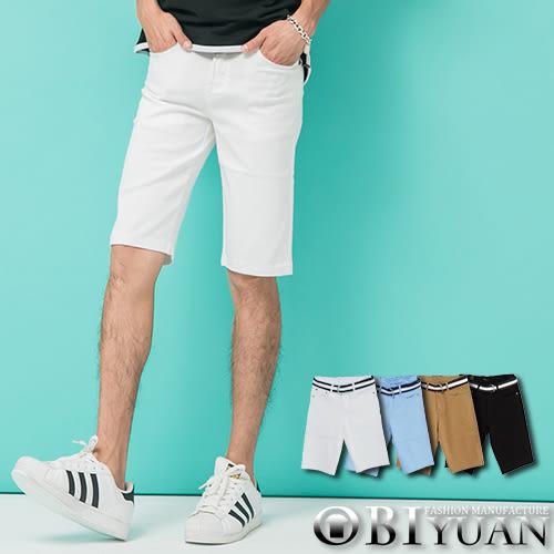 (附皮帶)彈性牛仔短褲【P1574】OBI YUAN 韓版專櫃厚磅材質簡約素面丹寧休閒褲共4色