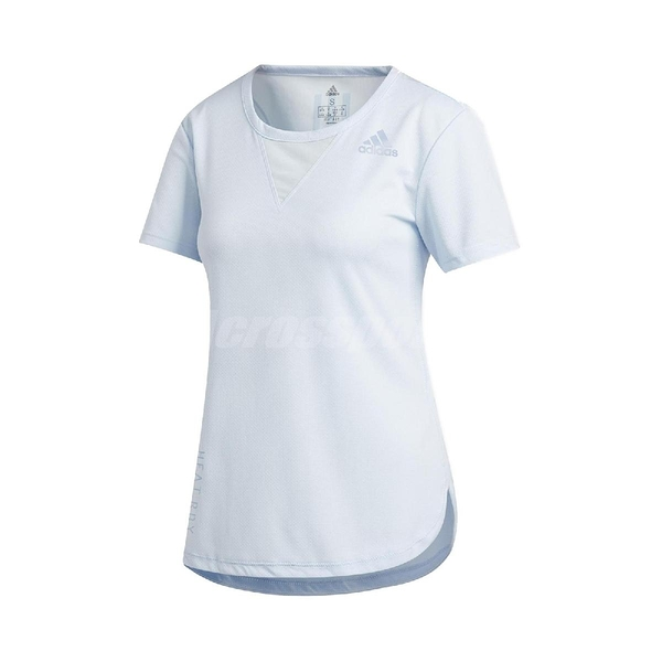 adidas 短袖T恤 3-Stripes Tee HEAT.RDY 藍 女款 張鈞甯款 運動 訓練 【ACS】 FK9617