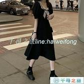 小黑裙 赫本風可鹽可甜連身裙蝴蝶結裙子夏天顯瘦長裙娃娃領小黑裙夏【千尋之旅】
