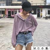 韓版寬鬆連帽純色薄款顯瘦T恤