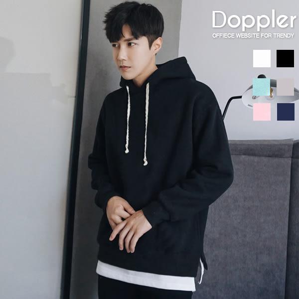 Doppler帽T 刷毛T 情侶裝 韓版假兩件式側開叉刷毛上衣 現貨【W06J5426】
