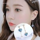 銀針耳環-S925銀針不對稱愛心耳針耳墬 (SRA0163) AngelNaNa