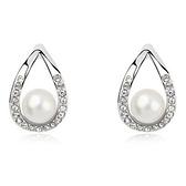 珍珠耳環 925純銀(耳針式)-氣質鑲鑽生日情人節禮物女飾品3色73bd105【時尚巴黎】