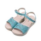 LUZZI 牛皮鏤空繡花涼鞋 水藍 女鞋