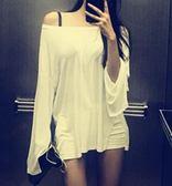 微透性感露肩寬鬆t恤薄款上衣女(3色)
