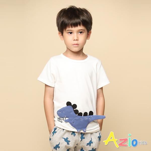 Azio 男童 上衣 可愛恐龍立體貼布短袖T恤(白) Azio Kids 美國派 童裝