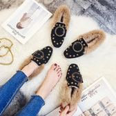 豆豆鞋秋冬季毛毛鞋女加絨保暖平底豆豆鞋黑色柳釘單鞋大碼41-43棉瓢鞋 qf8916【小美日記】