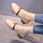 鞋子女2020春季新款百搭韓版學生豆豆鞋網紅中跟單鞋女淺口奶奶鞋 美芭