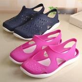 夏季女士防水塑料沙灘涼鞋黑色工作鞋防滑透氣女洞洞涼鞋媽媽涼鞋  交換禮物