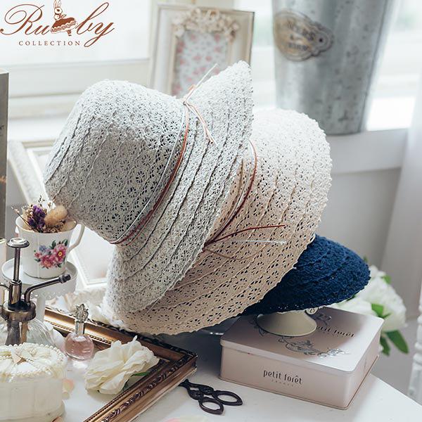 帽子 鏤空蕾絲皮繩蝴蝶結圓頂帽-Ruby s 露比午茶