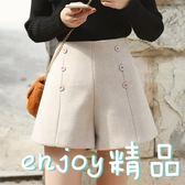 韓版雙排扣高腰毛呢短褲學生寬鬆闊腿褲女式休閒褲子  enjoy精品