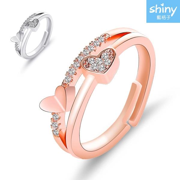 【36A42】shiny藍格子-精緻時尚.心心相印鑲鑽可調節戒指