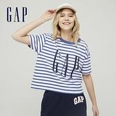 Gap女裝 Logo大字母寬鬆汗布短袖T恤 656341-海軍藍條紋