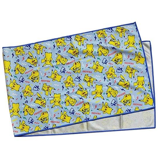 小禮堂 神奇寶貝 涼感長毛巾 附夾鏈袋 冰巾 運動毛巾 涼感巾 30x100cm (藍黃 滿版) 4549204-45608