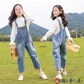 女童背帶褲冬季加絨牛仔褲兒童長褲中大小童套裝【淘夢屋】
