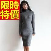 洋裝-修身顯瘦五分保暖高領羊毛連身裙4色63c39【巴黎精品】