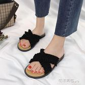 外出平底拖鞋女夏時尚2018新款韓版百搭學生荷葉邊涼拖外穿一字拖·花漾美衣