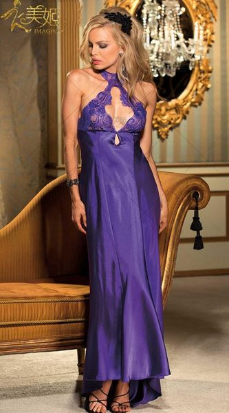 衣美姬♥歐美性感  連身長裙睡衣 繞頸蕾絲V領 綢緞情趣內衣 長版女神睡衣