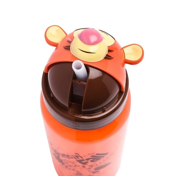 Disney迪士尼 跳跳虎造型頭掀蓋吸管水壺 500ml 橘_RD00447
