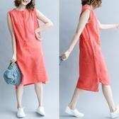 連身裙-無袖純色休閒收腰綁帶女洋裝3色73te14【巴黎精品】