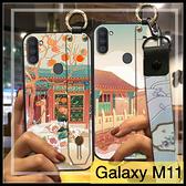 【萌萌噠】三星 Galaxy M11 復古中國風 腕帶支架款 橋中白鶴 全包軟殼 手機殼 手機套 附長短掛繩