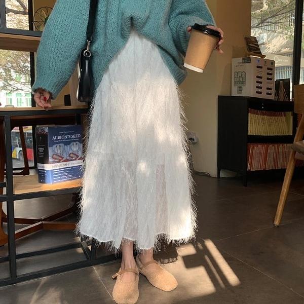 白色半身裙女秋冬網紗超仙中長款a字裙冬天配毛衣紗裙半身長裙子  伊蘿