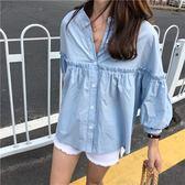 (XA-5172)百搭單排釦泡泡袖7分袖襯衫