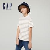 Gap男童 純棉基本款圓領短袖T恤 785201-駝色條紋