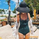 絲絨泳衣女性感小胸鋼托聚攏連體少女沙灘泳衣大碼泳裝品牌【小桃子】