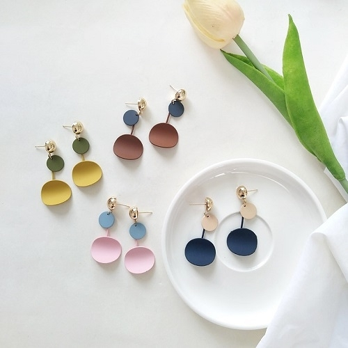 【NiNi Me】韓系耳環 夾式耳環 氣質簡約磨砂質感圓片耳針 夾式耳環 E0180